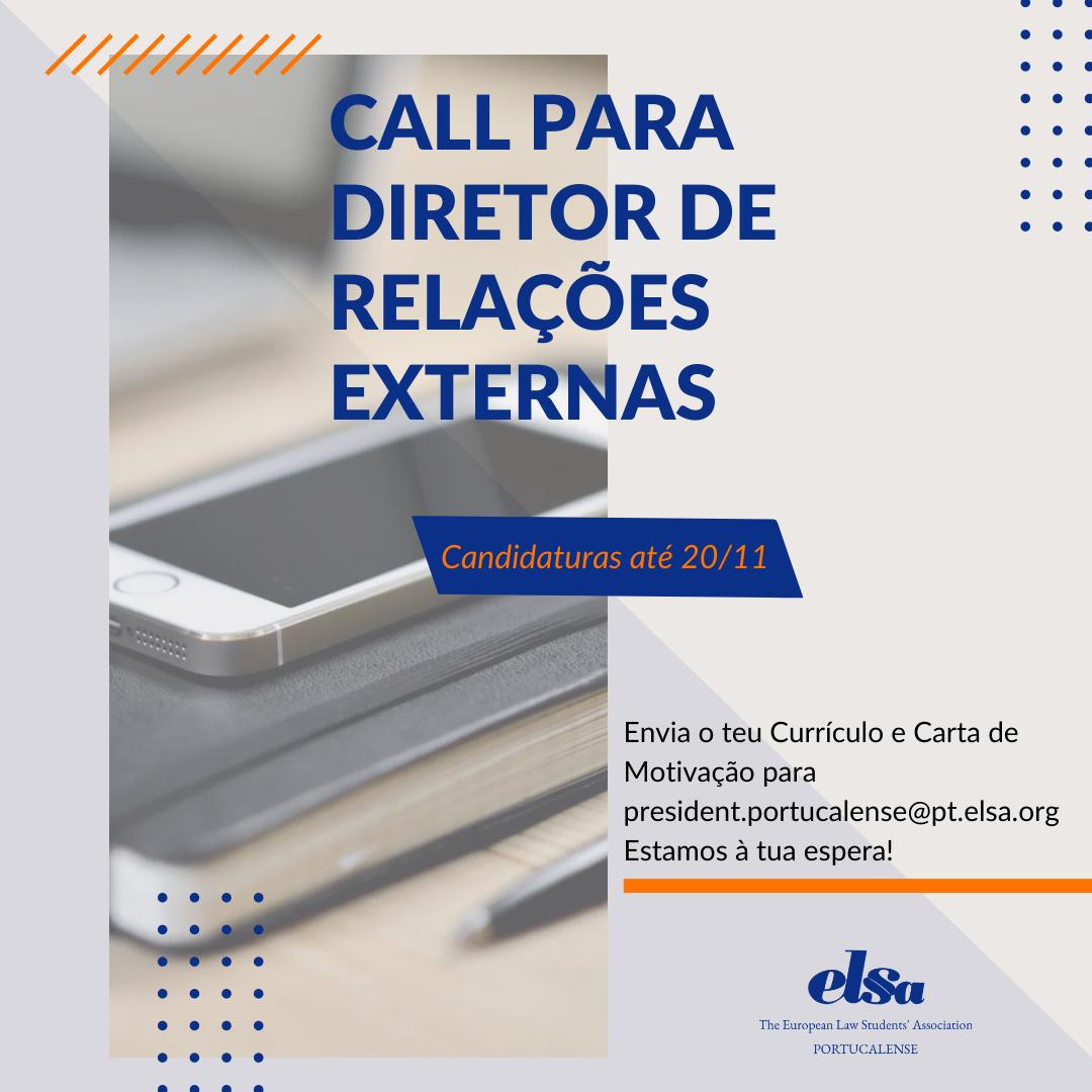 Call para Diretor de Relações Externas